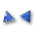 18K Gold Triangular Single Stone Post earrings