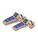 Lapis Lazuli, Malachite and 18K Gold Hanging Earrings