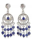 Sterling Silver and Lapis Lazuli Long Chandelier Earrings