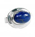 Oversized Sterling Silver and Oval Lapis Lazuli Cabochon Ring