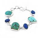 Lapis Lazuli and Veined Turquoise Cabochons Toggle Bracelet
