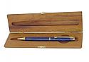 Gold Plated Lapis Lazuli Ballpoint Pen in Wood Box