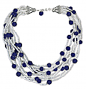Water Pearl and Lapis Lazuli Beads Necklace