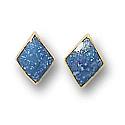18K Gold Diamond Shaped Single Stone Post Earrings