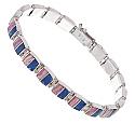 Sterling Silver, Lapis Lazuli & Rhodhocrosite Hinge Bracelet