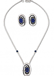 Sterling Silver and Lapis Lazuli Abstract Flower Necklace and Earrings Set