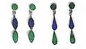 Pierced Drop Sterling Silver Hanging Earrings – Lapis Lazuli and Malachite