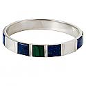 Sterling Silver Cuff Bracelet with Inlayed Lapis Lazuli and Malachite