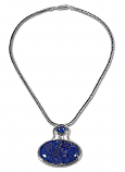 Sterling Silver and Lapis Lazuli Egyptian Pendant with Chain