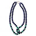 Double Strand Malachite and Lapis Lazuli Beads Necklace