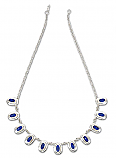 Sterling Silver and Lapis Lazuli Oval Crowned Semi Collar