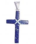 Rectangular Sterling Silver and Lapis Lazuli Cross