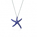 Elongated Lapis Lazuli and Sterling Silver Starfish Necklace