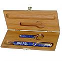 Gold Plated Lapis Lazuli Pen and Key Holder Set