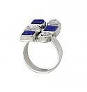 Sterling Silver, Lapis Lazuli and Nacar Ring