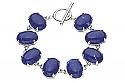 Sterling Silver and Oval Lapis Lazuli Cabochons Toggle Bracelet