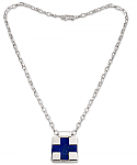 Sterling Silver and Lapis Lazuli Square Cross Necklace