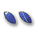 18K Gold Elongated Marquise Single Stone Post Earrings
