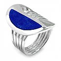 Sterling Silver and Lapis Lazuli Half Moon Cocktail Ring