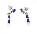 Pierced Zebra Sterling Silver Hanging Earrings – Lapis Lazuli
