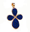 18K Gold and Lapis Lazuli Tear Cross