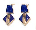 Lapis Lazuli and 18K Gold Triangular Hanging Earrings