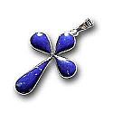 18K Gold and Lapis Lazuli Small Rectangular Cross