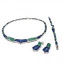 Wave Lapis Lazuli and Malachite Sterling Silver Set