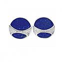 Sterling Silver Round Module Lapis Lazuli Earrings