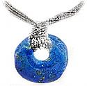 Lapis Lazuli Donut Charm Necklace