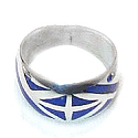 Sterling Silver Band Ring with Inlayed Stone, Weave Pattern